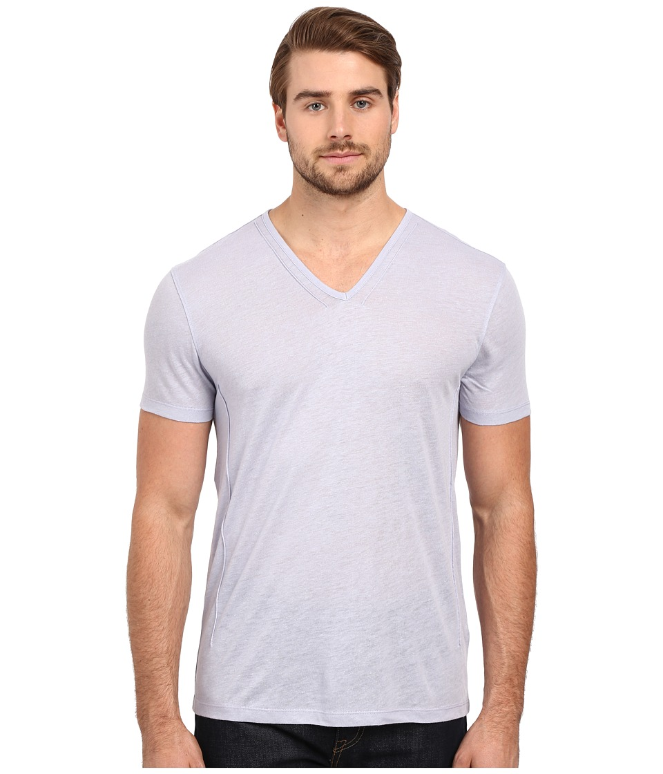 John Varvatos Star U.S.A. - Short Sleeve Knit V-Neck with Pintuck Seam Details K2163S1L (Wisteria) Men's Short Sleeve Pullover