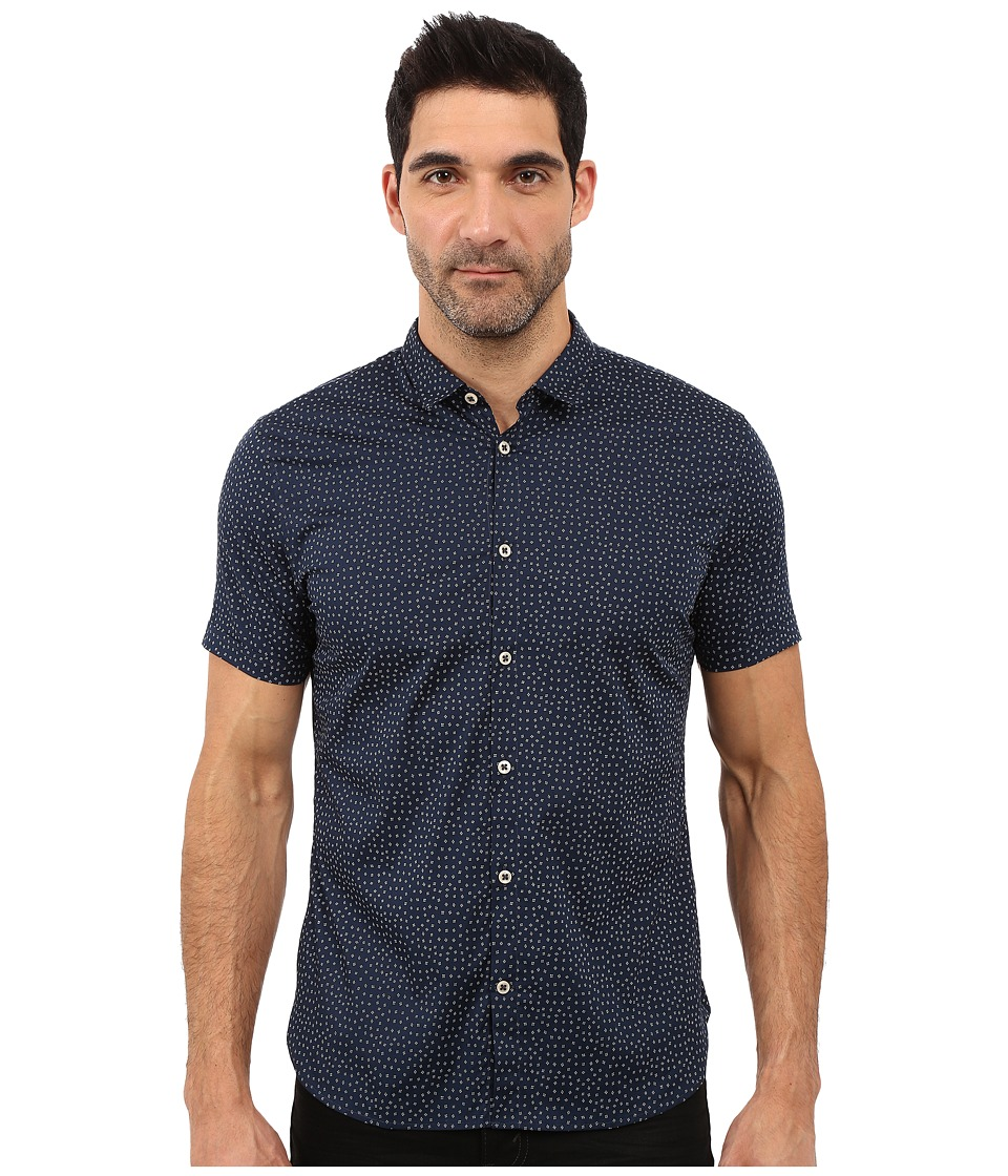John Varvatos Star U.S.A. - Slim Fit Mini Collar Short Sleeve Sport Shirt W508S1L (Navy) Men's Short Sleeve Button Up