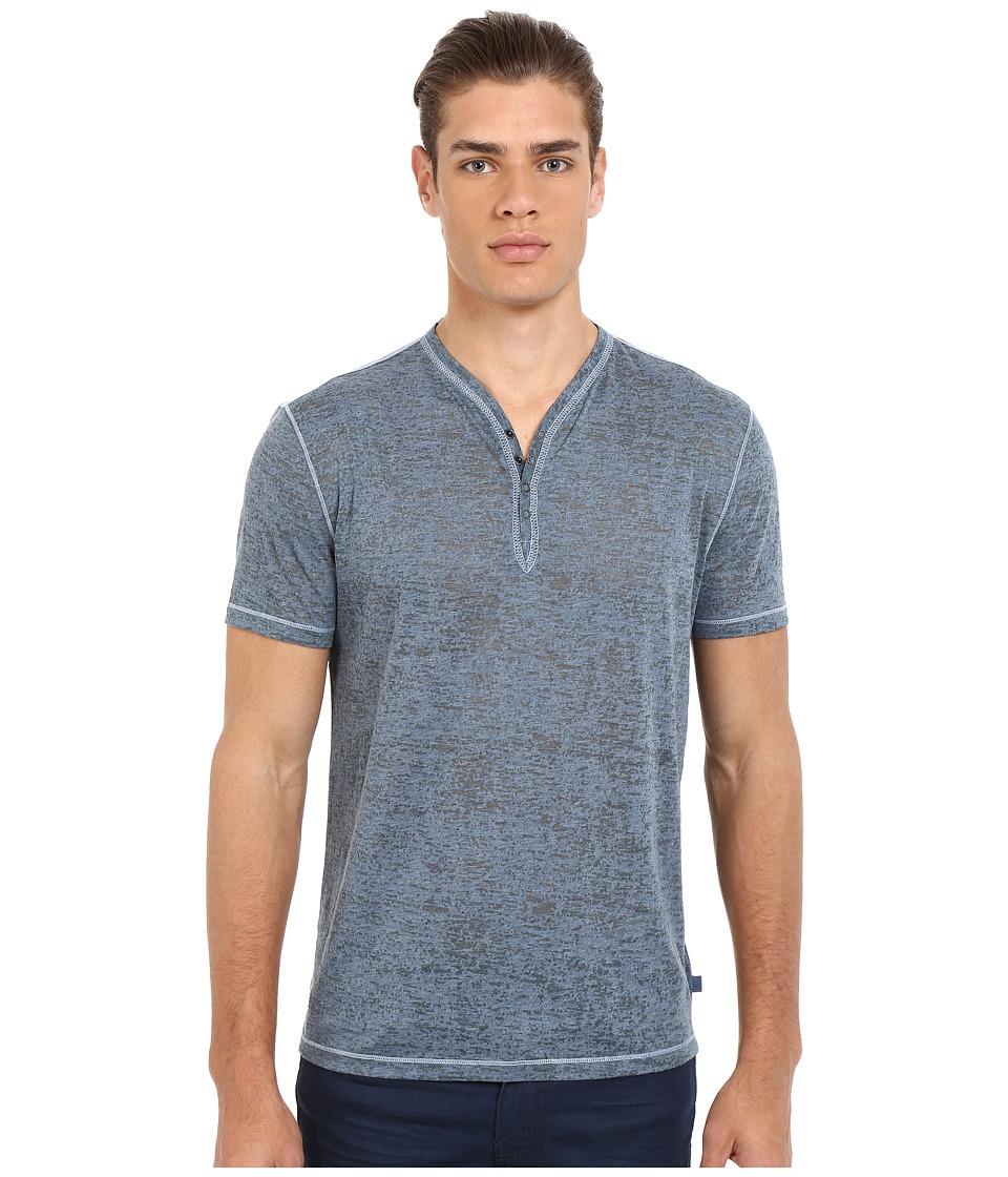 John Varvatos Star U.S.A. - Short Sleeve Snap Eyelet Henley Knit w/ Rib Neck Trim K740S1B (Blue Stone) Men
