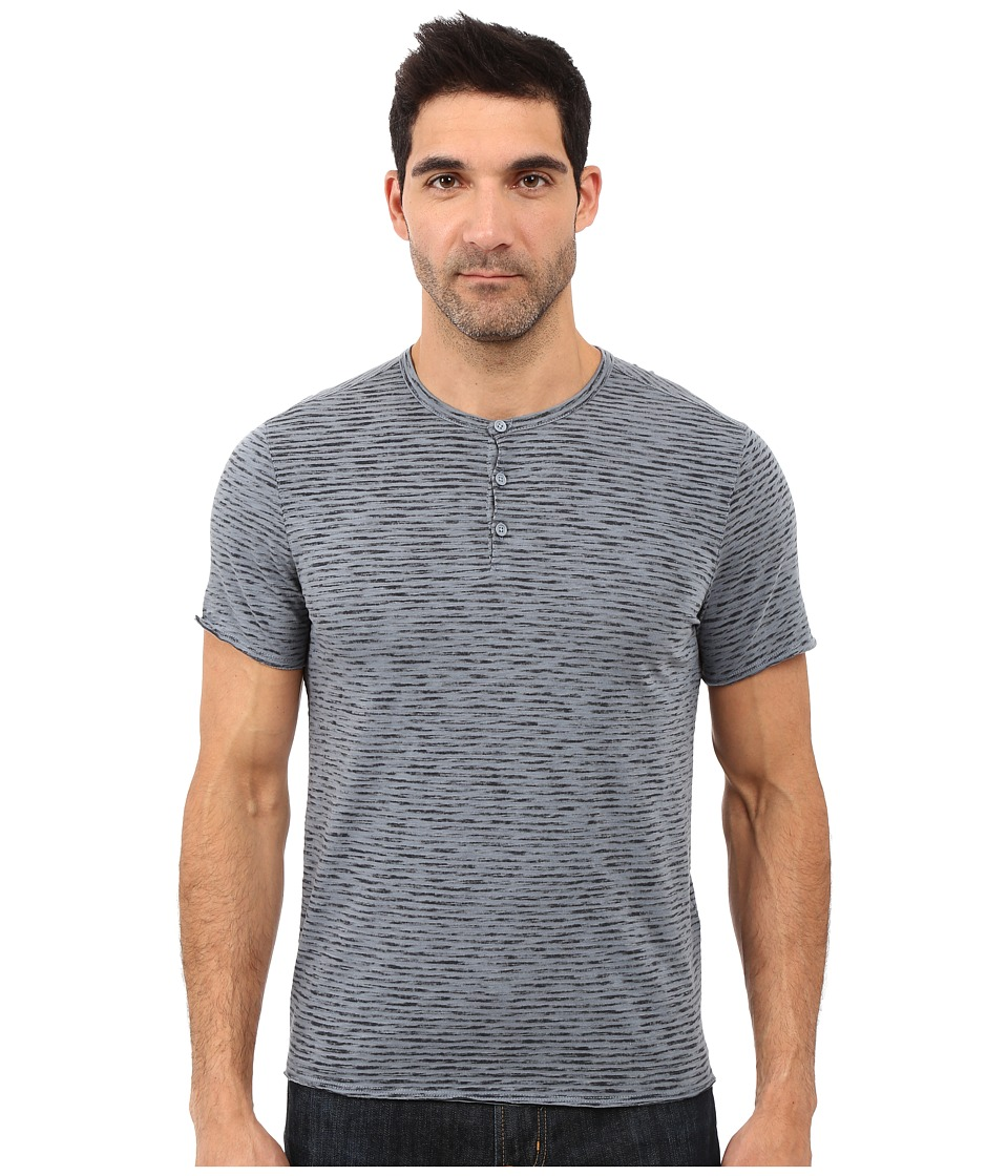 John Varvatos Star U.S.A. - Reverse Print Mixed Stripe Short Sleeve Knit Henley K2531S1B (Dark Navy) Men's Clothing