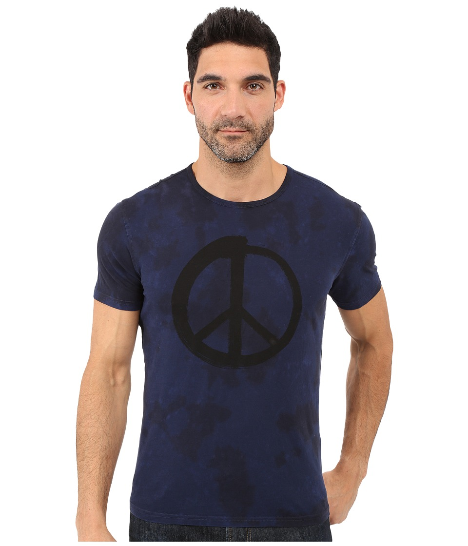 John Varvatos Star U.S.A. - Peace Spencer Wash Graphic Tee K2613S1B (Indigo) Men's T Shirt