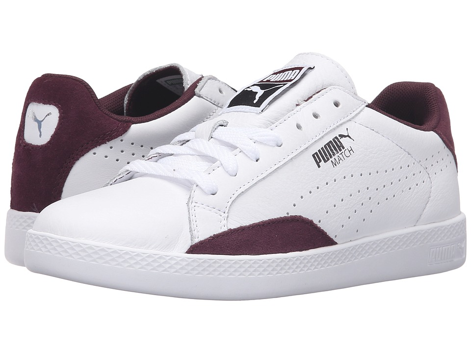 PUMA - Match Lo Basic Sports (Puma White/Winetasting) Women's Shoes