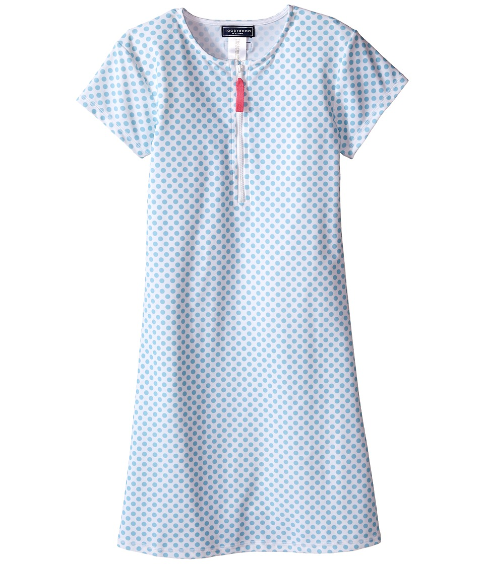 Toobydoo - Miss Dot Short Sleeve Surf Dress (Infant/Toddler/Little Kids/Big Kids) (White/Blue Dot) Girl's Dress
