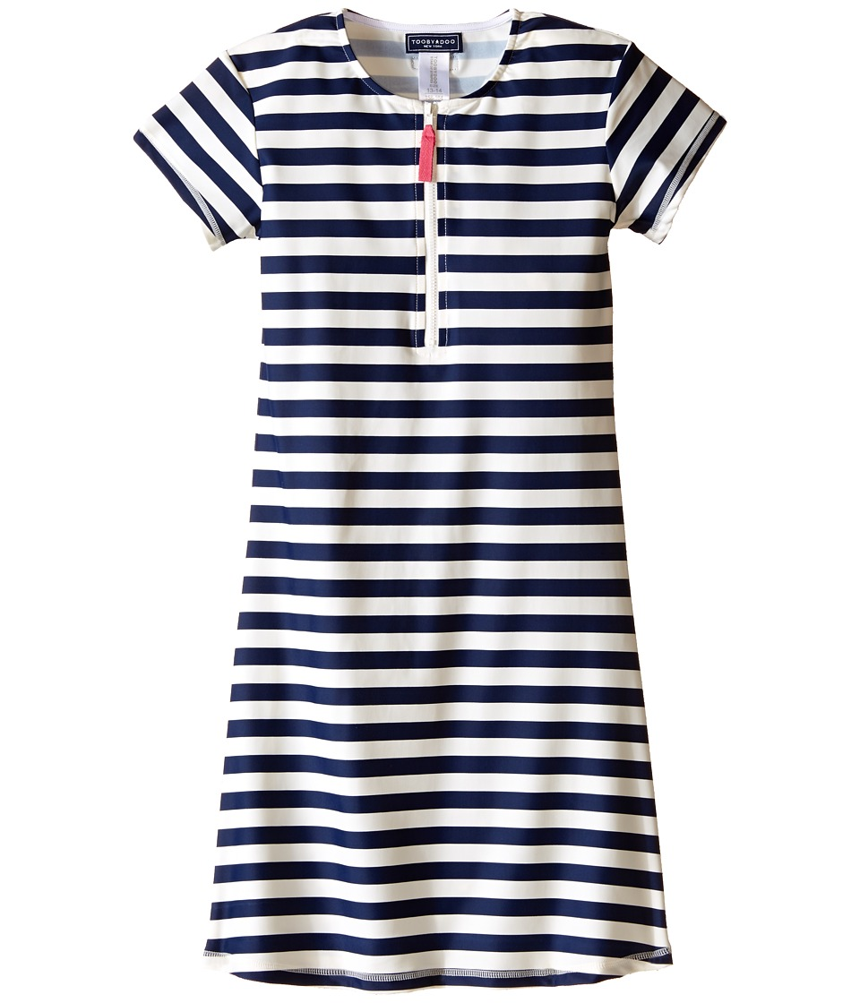 Toobydoo - Navy/White Stripe Short Sleeve Surf Dress (Infant/Toddler/Little Kids/Big Kids) (Navy/White) Girl's Dress