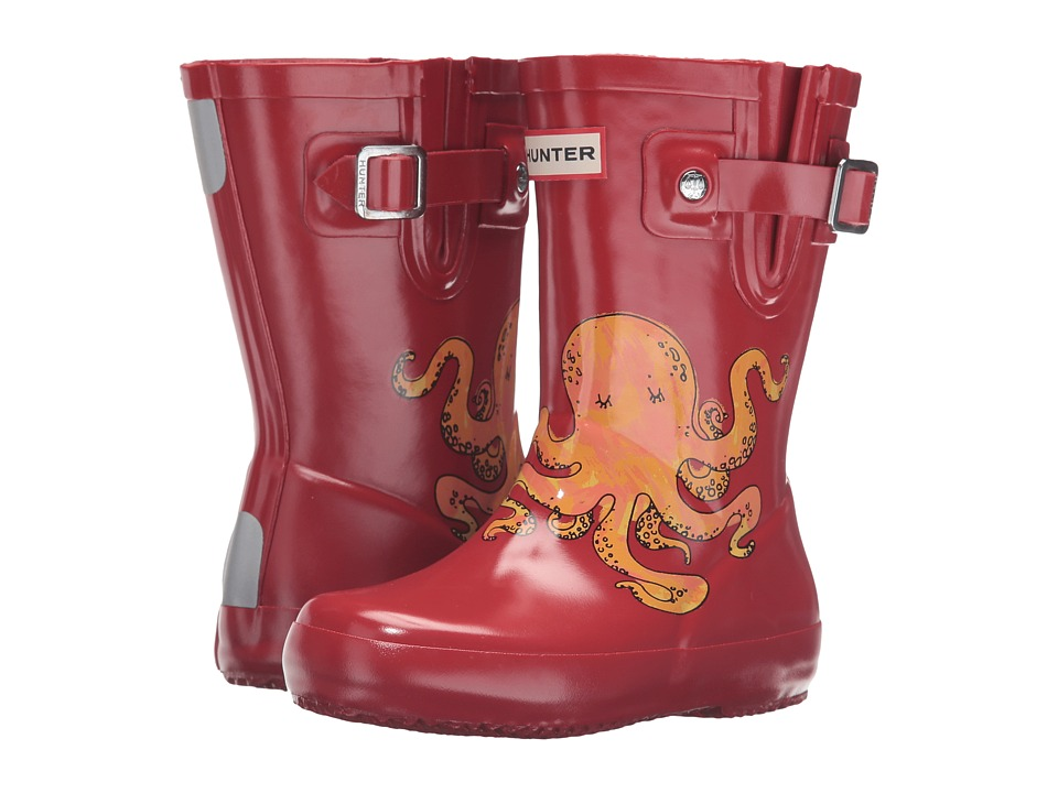 Hunter Kids - Original Sea Creatures Print - Octopus (Toddler) (Hunter Red) Girls Shoes