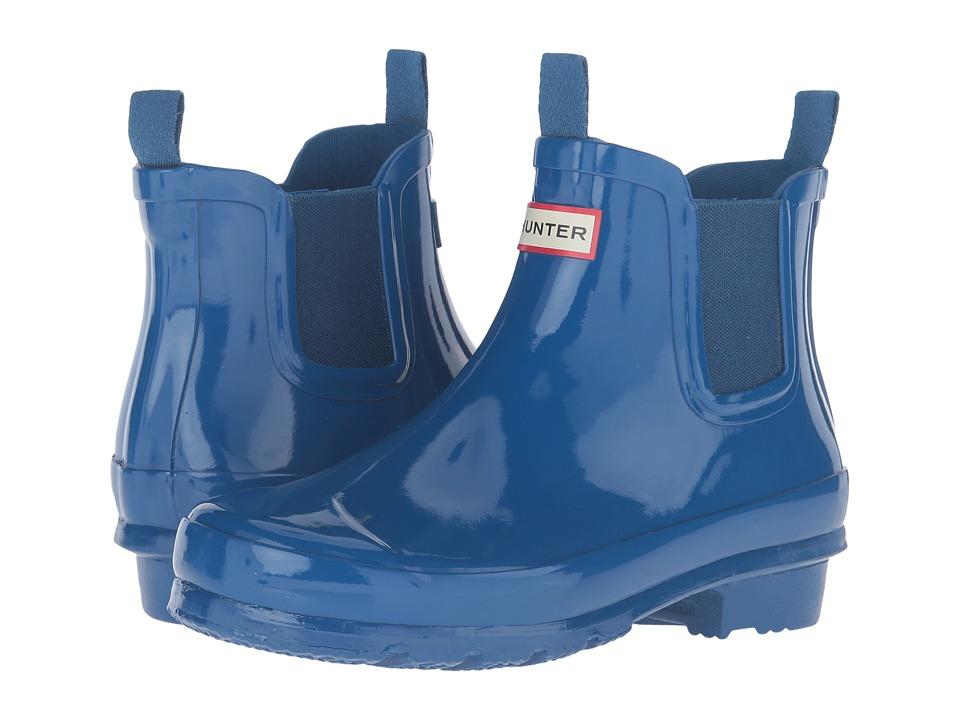 Hunter Kids - Original Chelsea Gloss (Little Kid/Big Kid) (Azure) Kids Shoes