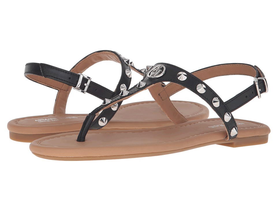 Armani Jeans Shiny Leather Sandal with Studs Black Womens Sandals