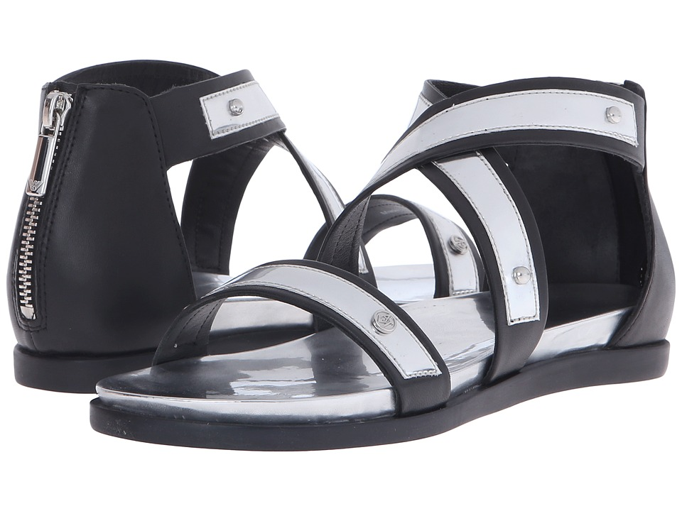 Armani Jeans - Leather and Mirror Leather Sandal (Black) Women's Sandals