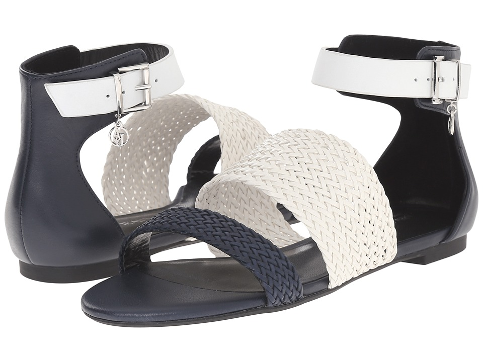 Armani Jeans - Leather and Woven Eco Leather Sandal (Blue) Women's Sandals