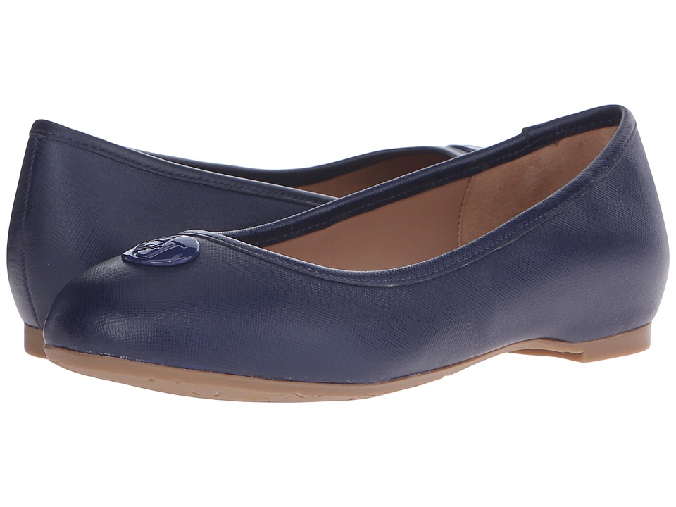 Armani Jeans Saffiano Leather Ballet Flat Blue Womens Ballet Shoes