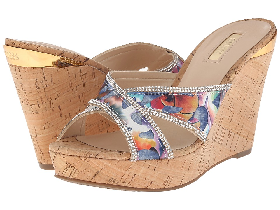 GUESS - Eleonora (Blue Fabric) Women's Wedge Shoes