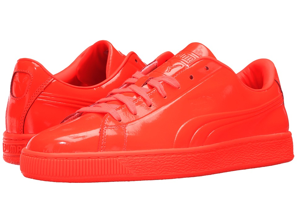 PUMA - Basket Classic Patent Emboss (Red Blast) Men's Basketball Shoes