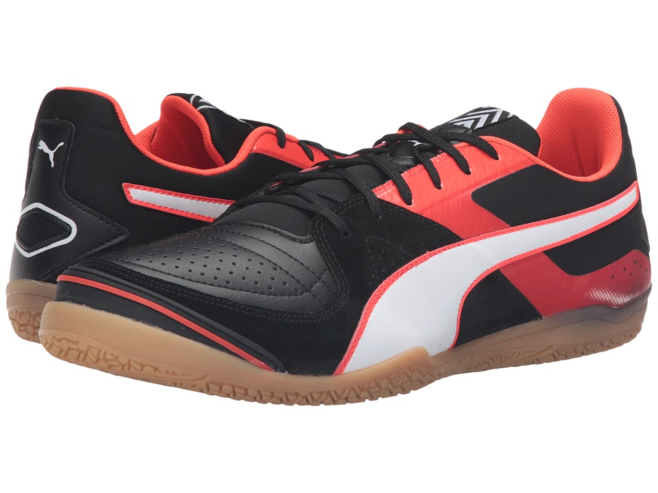 PUMA - Invicto Sala (Puma Black/Puma White/Red Blast) Men's Soccer Shoes