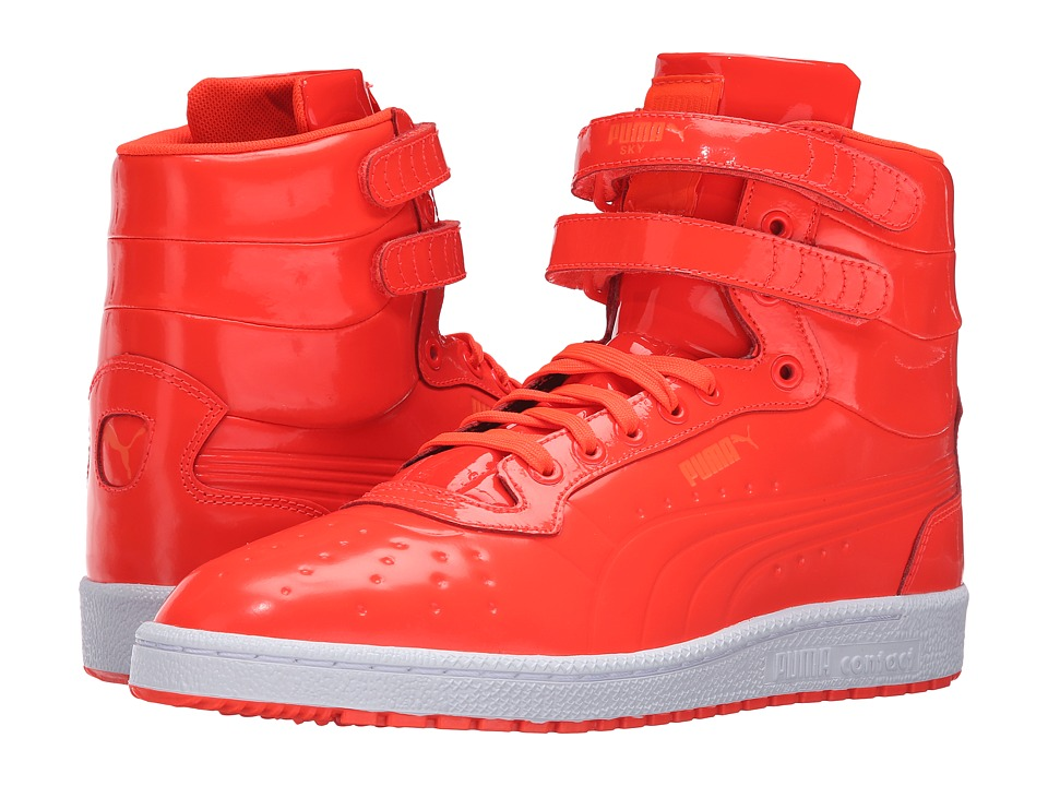 PUMA - Sky II Hi Patent Emboss (Red Blast) Men's Court Shoes
