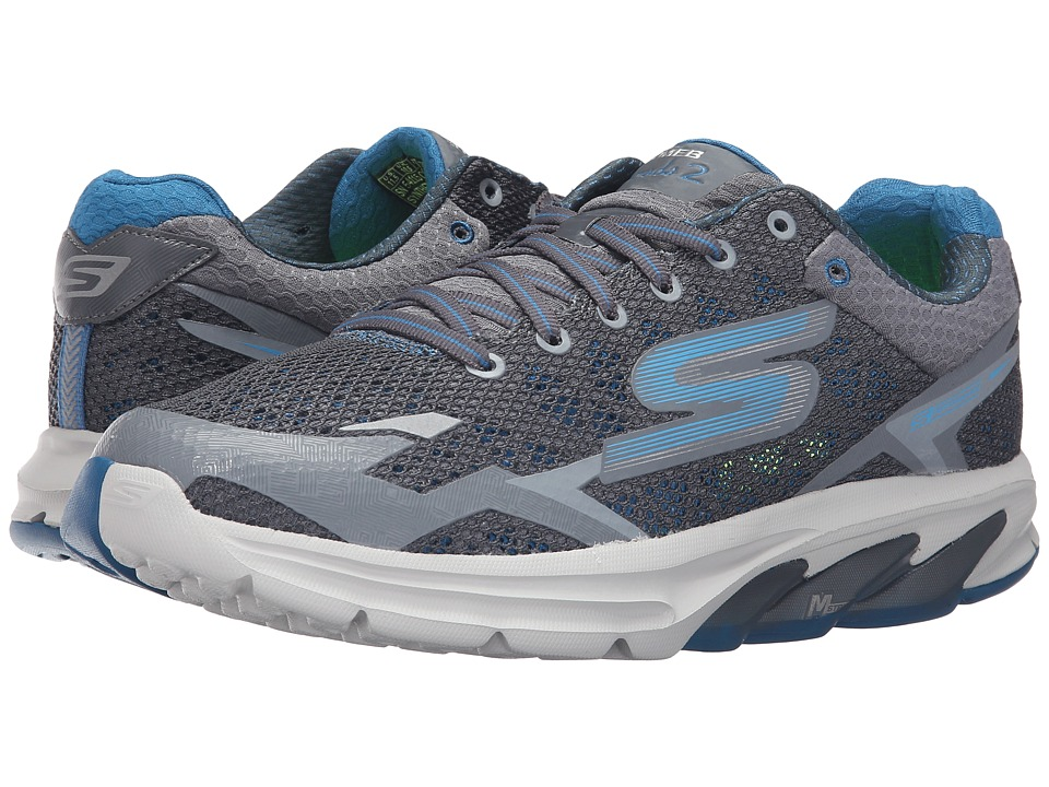 SKECHERS Performance - Go Meb Strada 2 (Charcoal/Blue) Men's Running Shoes