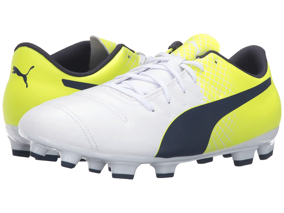 PUMA - evoPOWER 4.3 FG (Puma White/Peacoat/Safety Yellow) Men's Shoes
