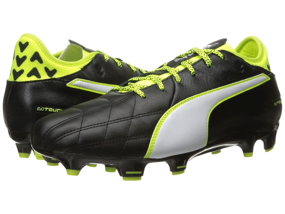 PUMA - evoTOUCH 3 Leather FG (Puma Black/Puma White/Safety Yellow) Men's Shoes