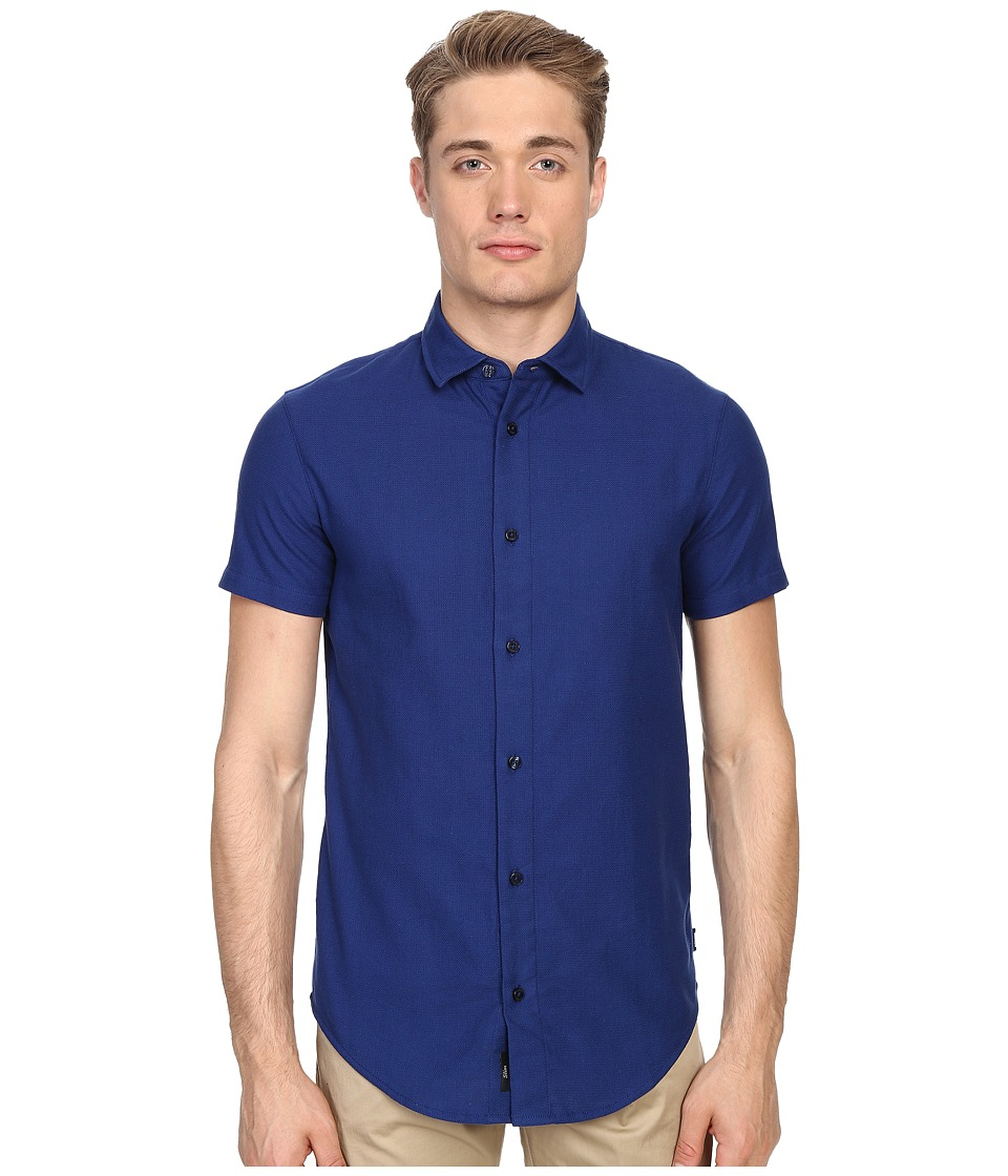 Armani Jeans - Short Sleeve Slim Fit Woven (Blue) Men's Clothing