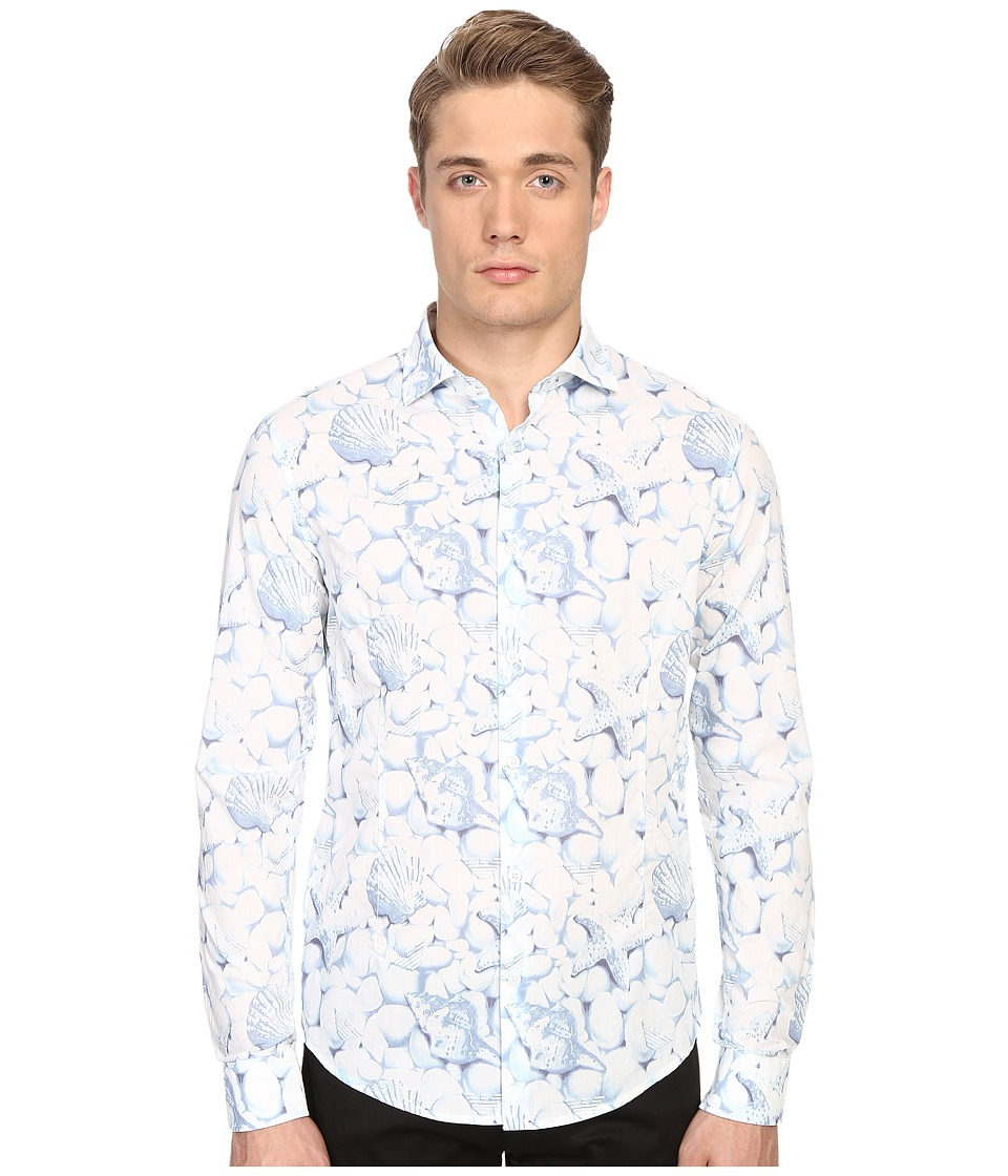 Armani Jeans - All Over Printed Cotton Popeline (White/Blue) Men's Clothing