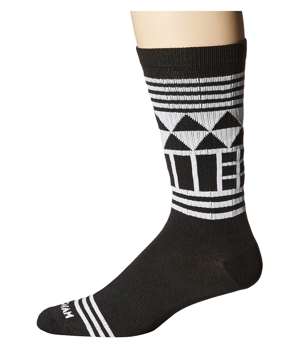 Wigwam - Lingo Crew (Black/White) Crew Cut Socks Shoes