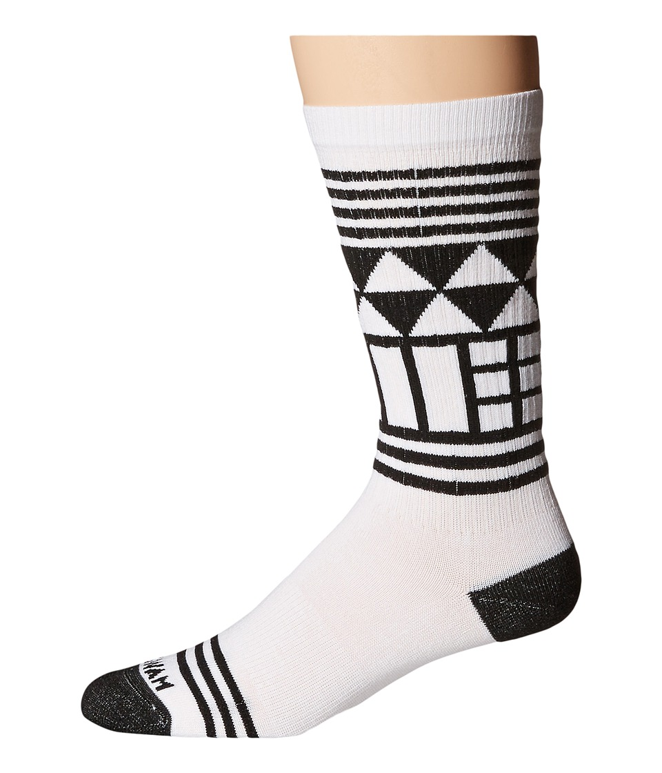 Wigwam - Lingo Crew (White/Black) Crew Cut Socks Shoes