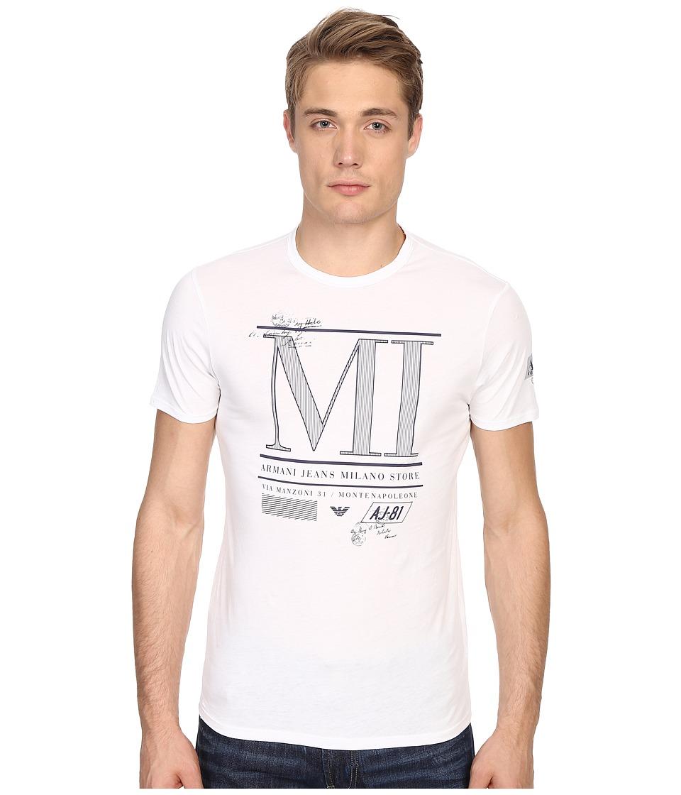 Armani Jeans - Milan Water Print Tee (White) Men's T Shirt