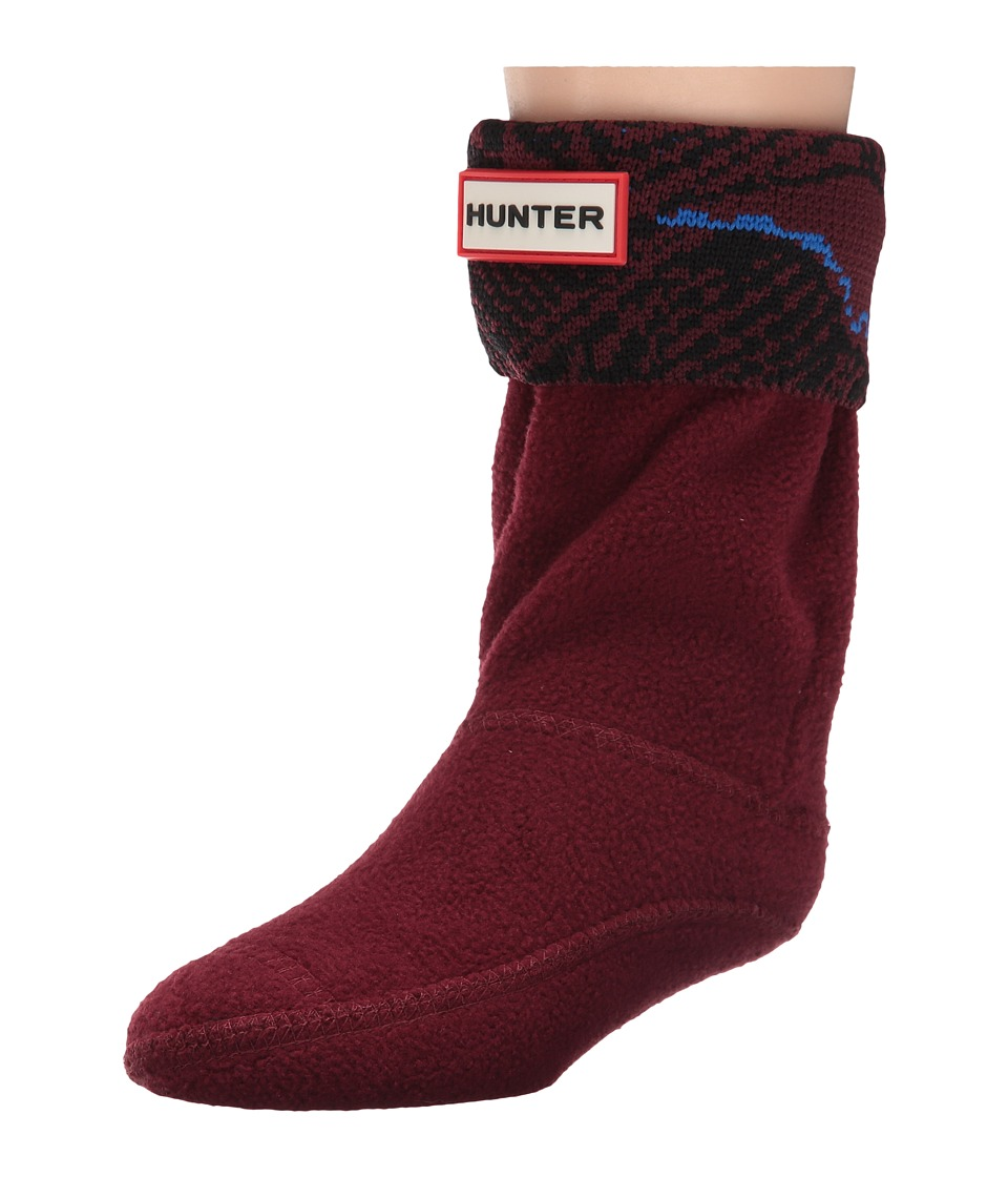 Hunter Kids - Original Wave Intarsia Socks (Toddler/Little Kid/Big Kid) (Dulse/Azure Wave Print) Kids Shoes