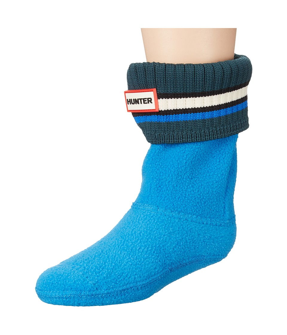 Hunter Kids - Original Buoy Stripe Cuff Socks (Toddler/Little Kid/Big Kid) (Azure/White) Kids Shoes