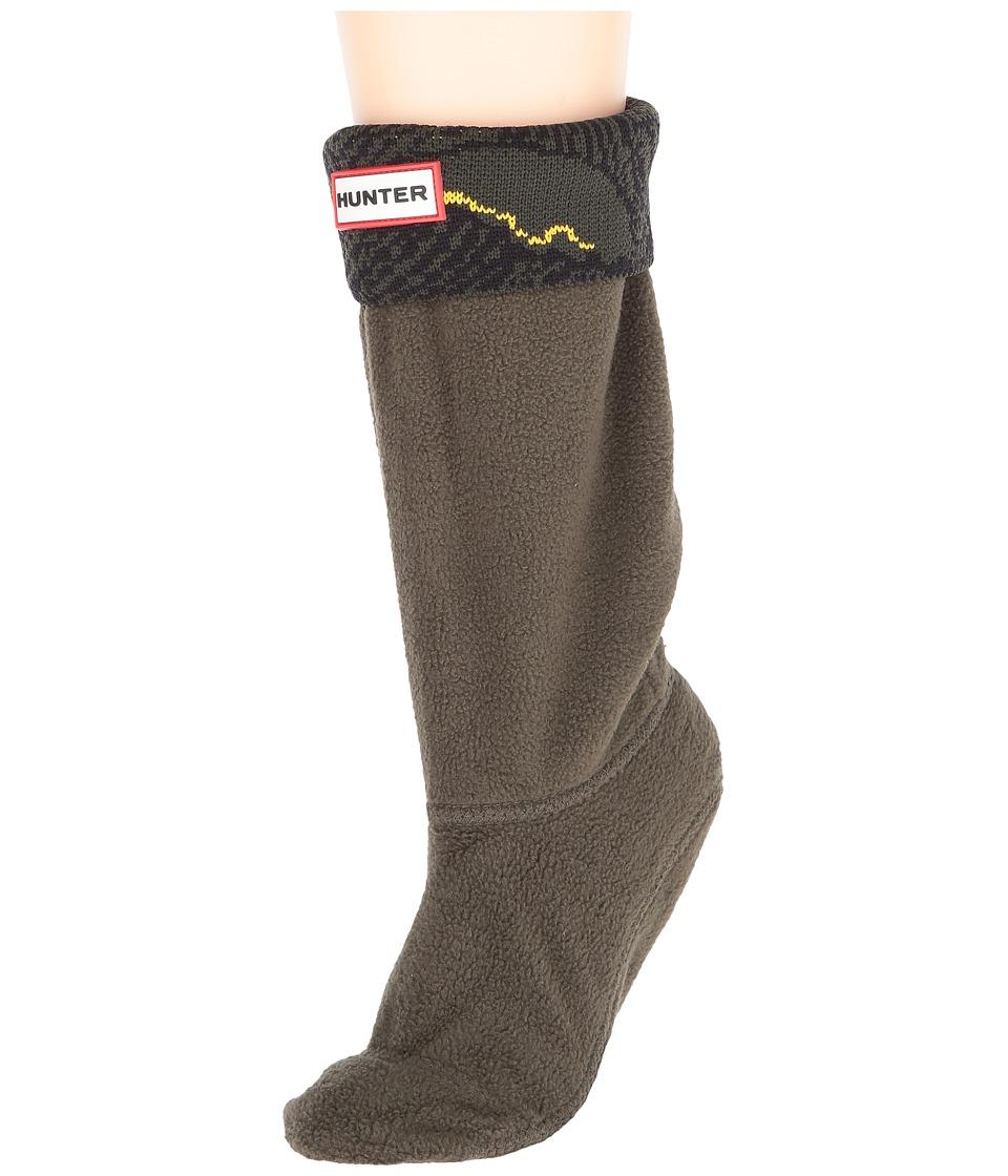 Hunter Kids - Original Wave Intarsia Socks (Toddler/Little Kid/Big Kid) (Dark Olive/Sowester Wave Print) Kids Shoes