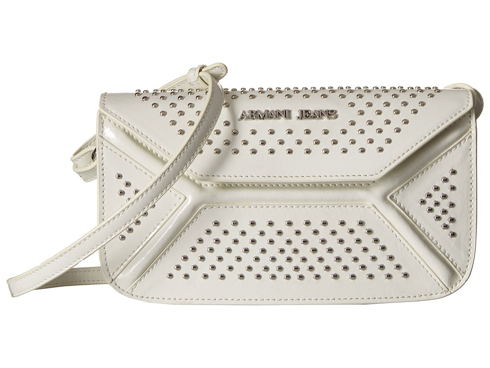 Armani Jeans - Leather Continental Bag with Studs (White) Bags