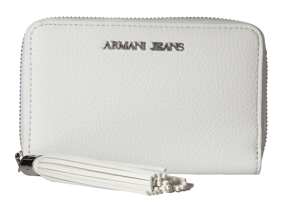 Armani Jeans - Bifold Wallet with Tassle Detail (White) Wallet Handbags