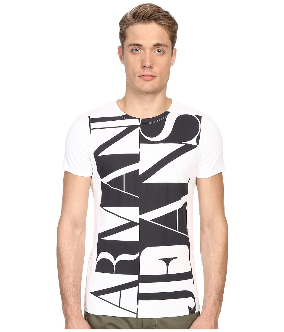 Armani Jeans - Large Vertical Color Block Logo Tee (White) Men's T Shirt