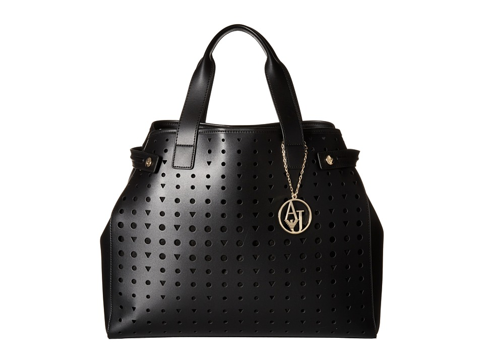Armani Jeans - Perforated Eco Leather Shopping Bag (Black) Bags