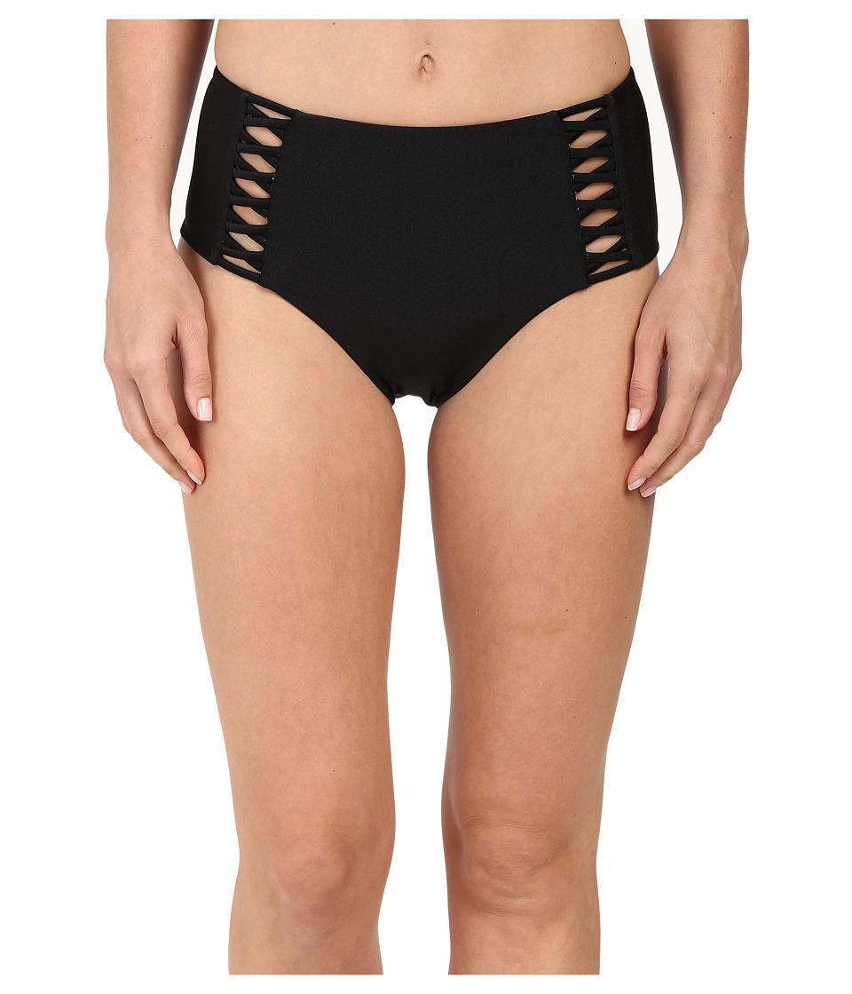 Amuse Society Raquel Solid High Rise Bottom with Strapping Detail Black Swimwear