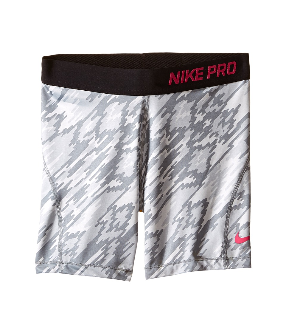 Nike Kids - Pro Cool Training Short AOP2 (Little Kid/Big Kid) (Pure Platinum/Black/Vivid Pink) Girl's Shorts
