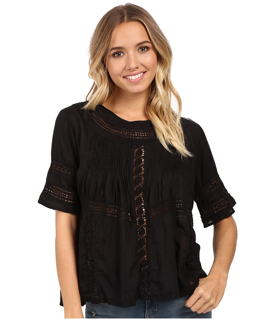 Amuse Society - Clover Woven Short Sleeve Top (Black) Women's Blouse