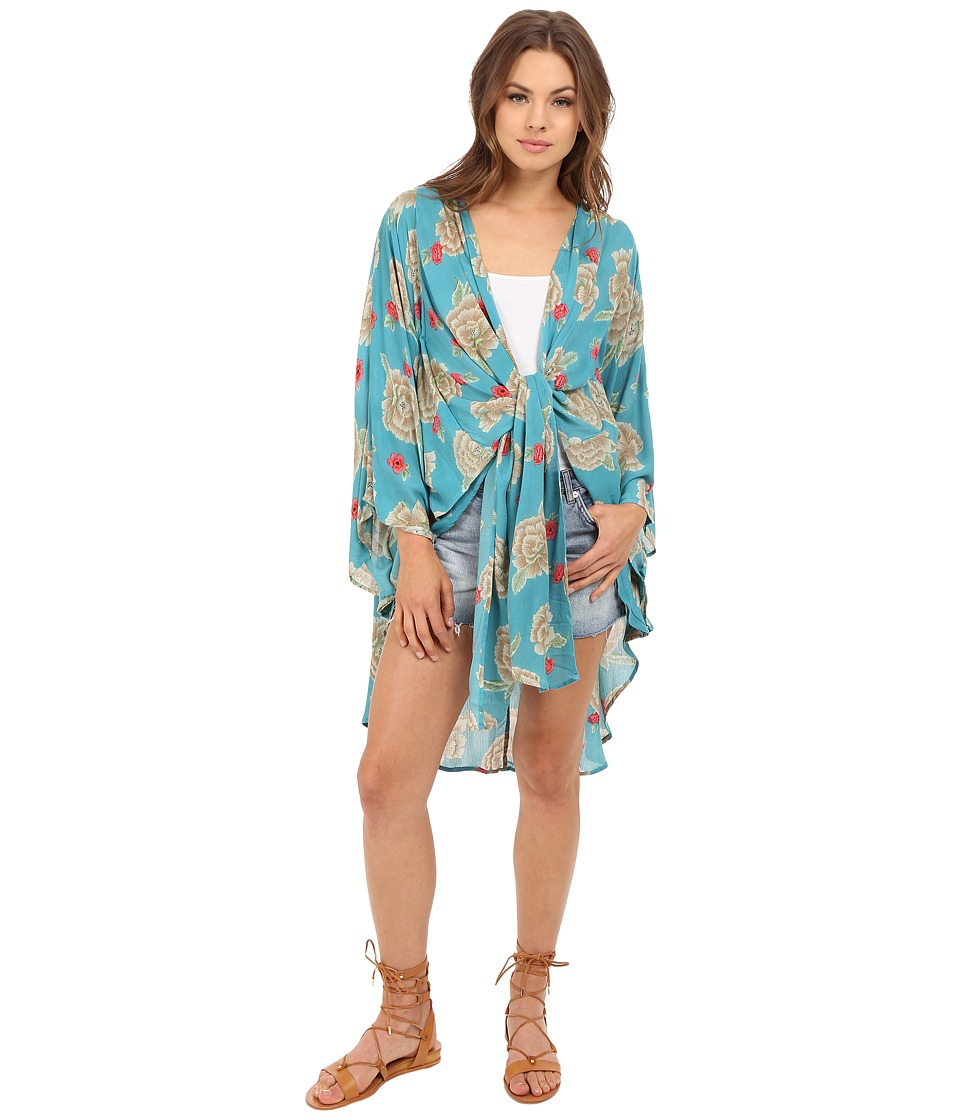Amuse Society - Katrina Woven Kimono (Ocean) Women's Clothing