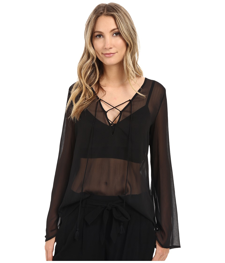 The Jetset Diaries - Tan Lines Blouse (Black) Women's Blouse