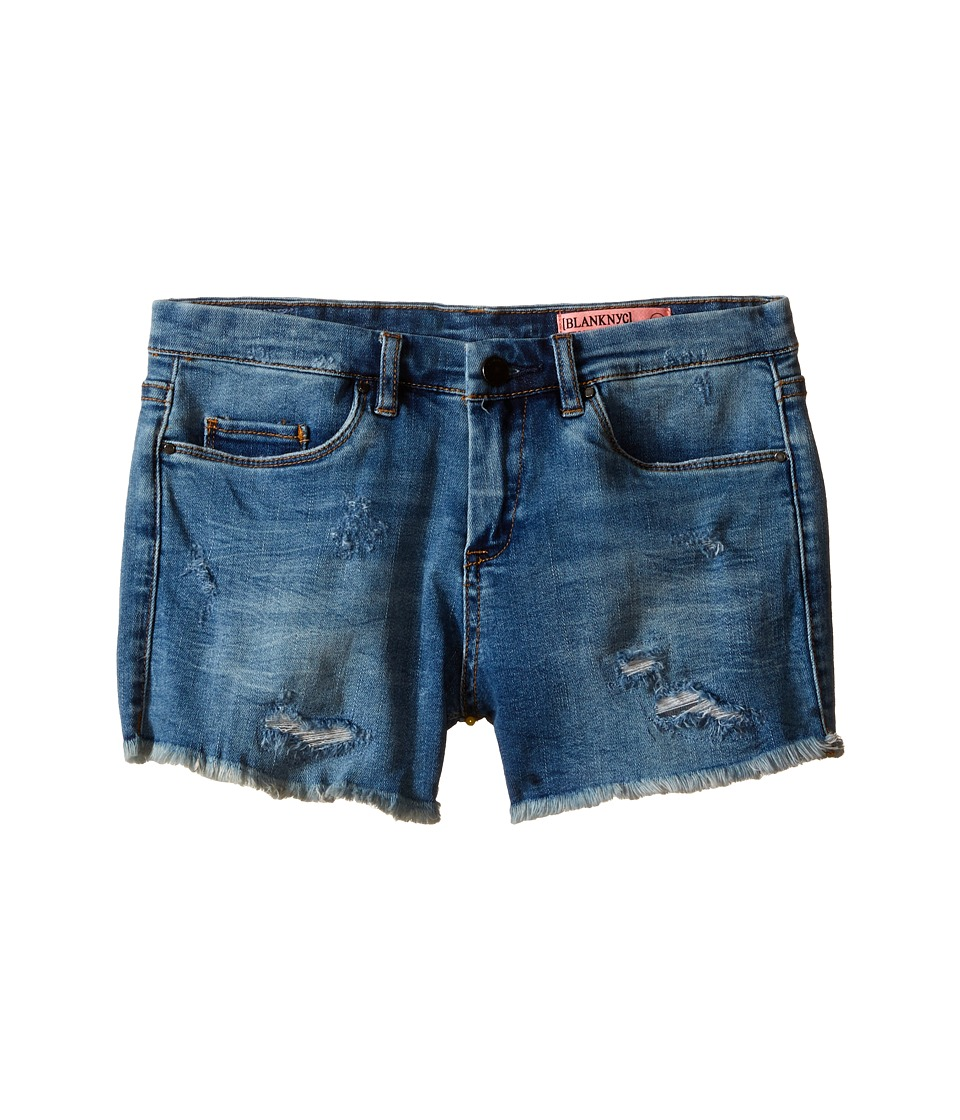Blank NYC Kids - Denim Distressed Shorts in No Tell Motel (Big Kids) (Blue) Girl's Shorts