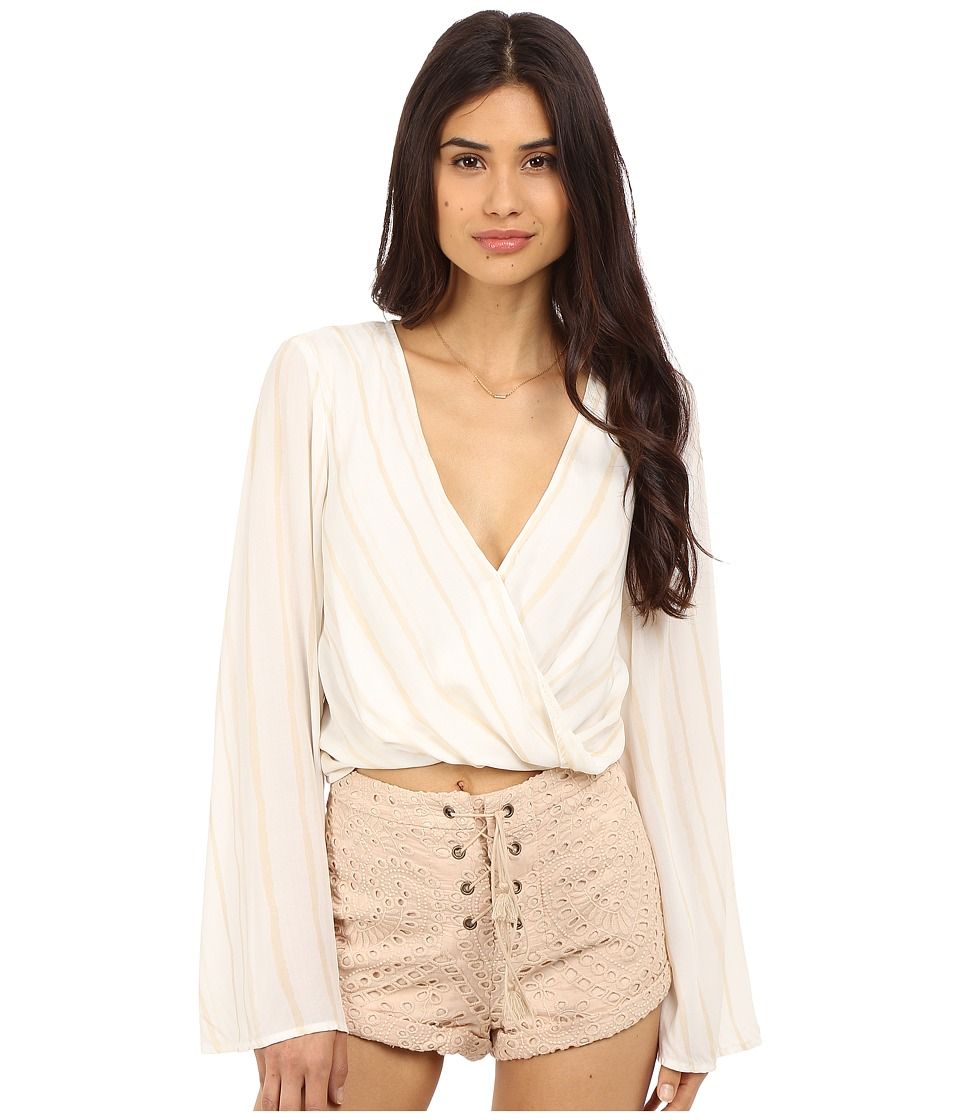 The Jetset Diaries - El Dorado Wrap Top (Tan Stripe) Women's Clothing