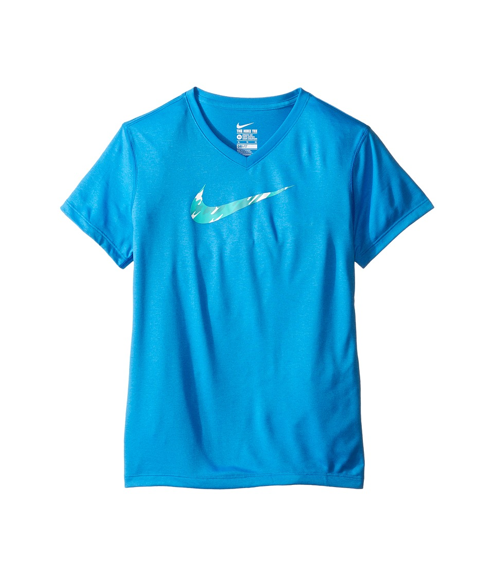 Nike Kids - Legend V-Neck Swoosh Fill Tee (Little Kid/Big Kid) (Photo Blue/Washed Teal) Girl's T Shirt