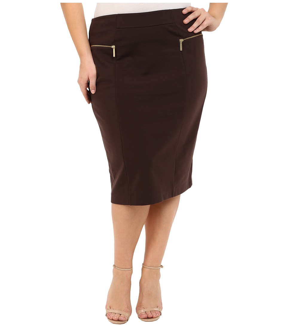 MICHAEL Michael Kors - Plus Size Zip Ponte Long Pencil Skirt (Chocolate) Women's Skirt