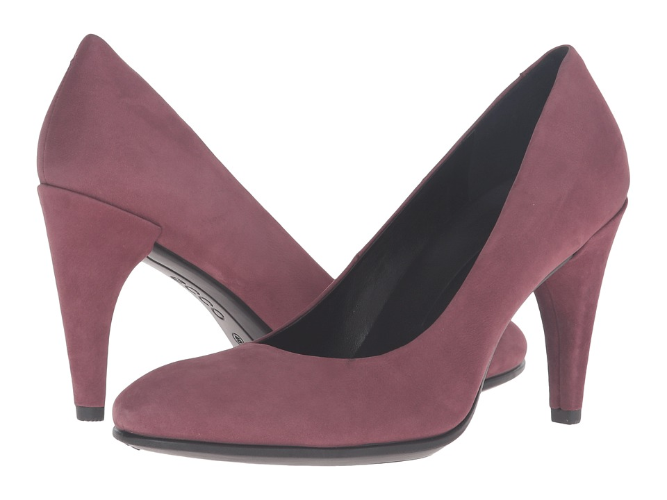 ECCO - Shape 75 Sleek Pump (Bordeaux Calf Nubuck) High Heels