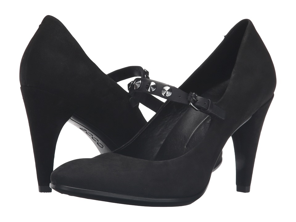 ECCO - Shape 75 Sleek Mary Jane (Black/Black Calf Nubuck/Cow Nubuck) High Heels
