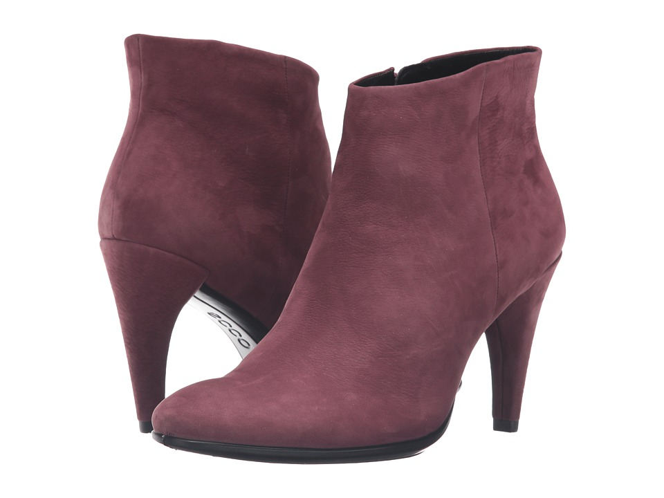 ECCO - Shape 75 Sleek Ankle (Bordeaux Calf Nubuck) High Heels