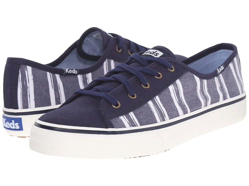 Keds - Double Up Washed Stripe (Navy 1) Women's Lace up casual Shoes