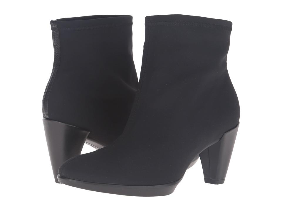 ECCO Shape 55 Plateau Ankle (Black/Black Textile/Cow Leather) Women