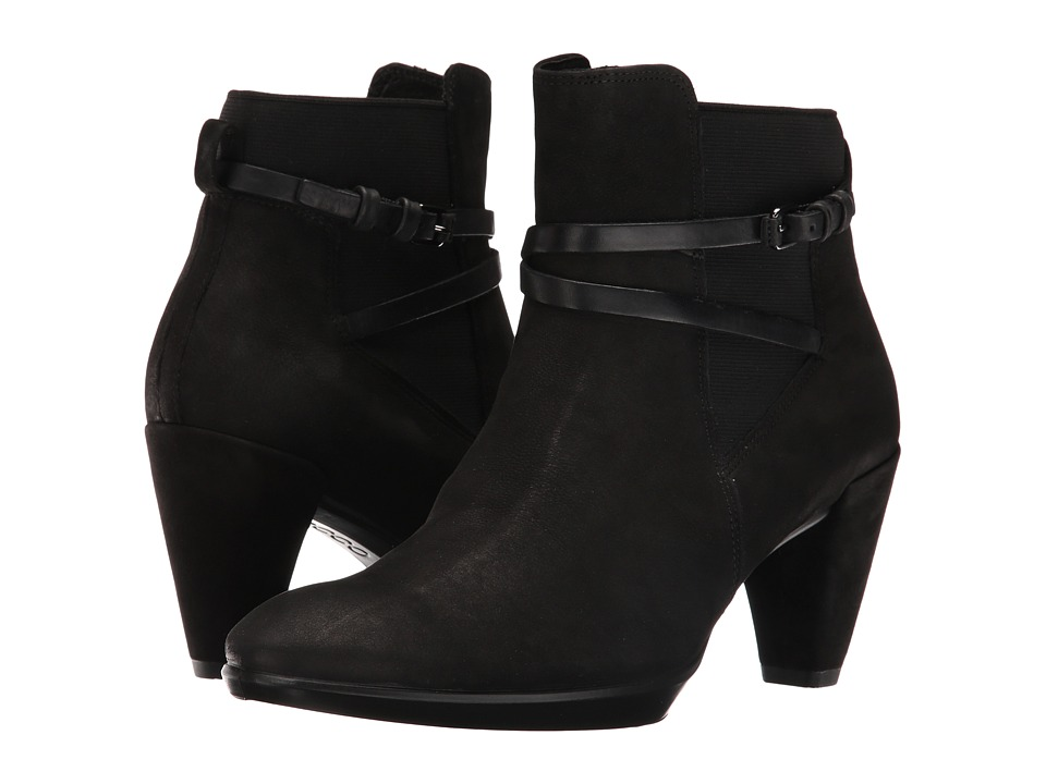 ECCO Shape 55 Plateau Boot (Black/Black Calf Nubuck/Cow Nubuck) Women