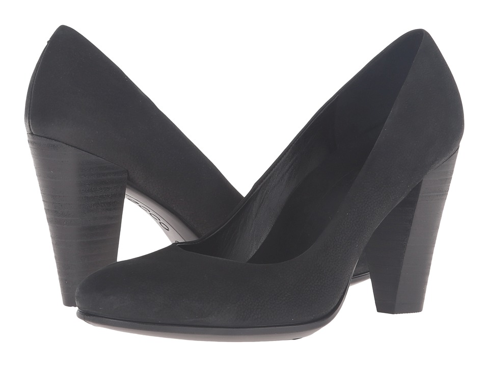 ECCO - Shape 75 Pump (Black Cow Nubuck) High Heels