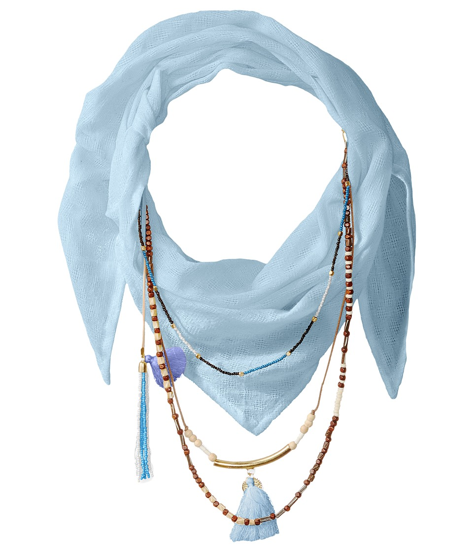 BCBGeneration - Solid Layered Beads Triangle Scarf (Desert Blue) Scarves